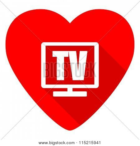 tv red heart valentine flat icon