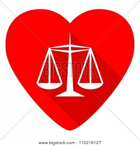 justice red heart valentine flat icon
