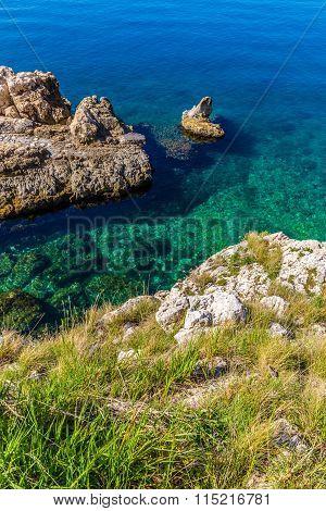 Rocky Seashore Taken From Above - Rovinj,croatia