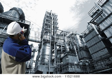 oil worker and industry plant