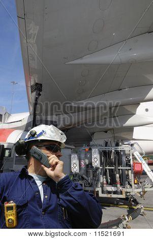 mechanic and airplane