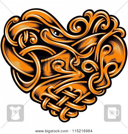 Vector celtic pattern in the shape of golden heart