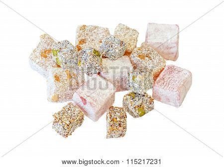 Variety Of Turkish Delight Isolated