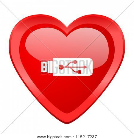 usb red heart valentine glossy web icon