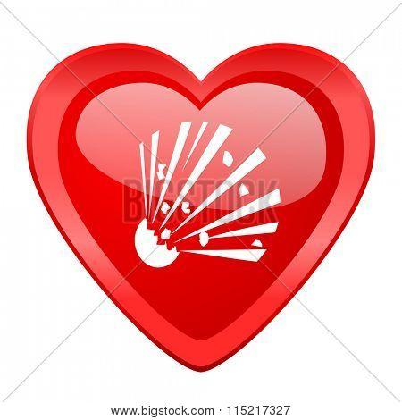 bomb red heart valentine glossy web icon