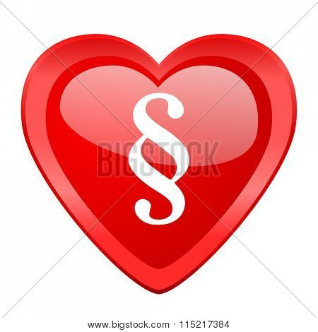 paragraph red heart valentine glossy web icon