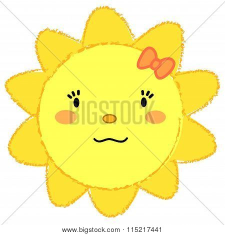 Happy sun with ribbon