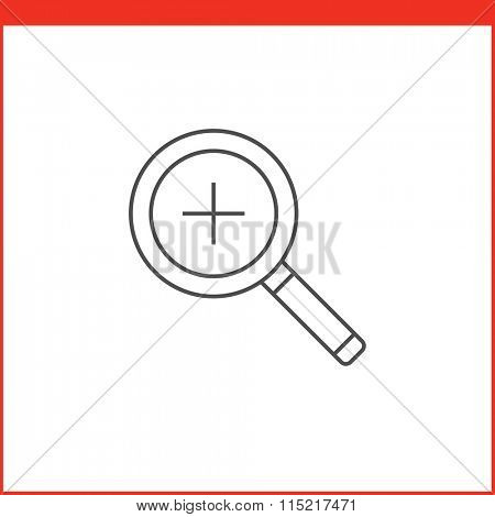 Zoom or Magnifying glass tool icon. Vector graphics designer tool. Simple outlined vector icon in linear style