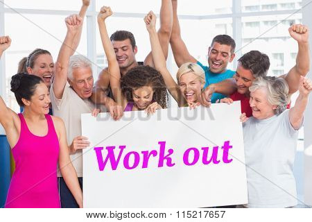 The word work out and excited people holding blank billboard at gym against white angular design