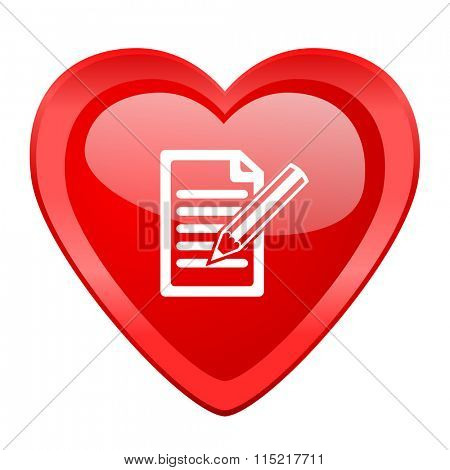 subscribe red heart valentine glossy web icon