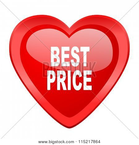 best price red heart valentine glossy web icon