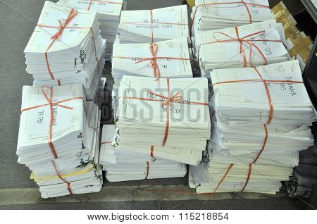 Pile Of Tied Office Paper Ready For Storage