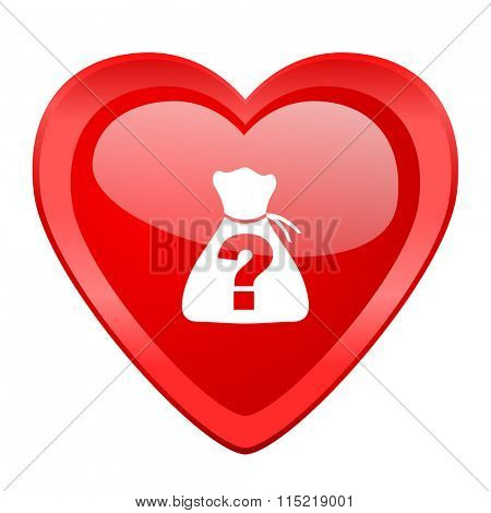 riddle red heart valentine glossy web icon