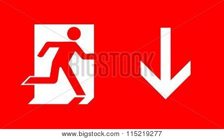 Emergency fire exit door and exit door. red icon on white