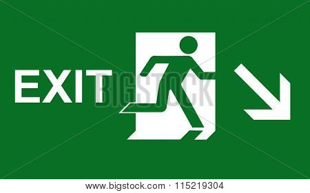 Emergency fire exit door and exit door. Green icon on white