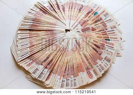 Heap Of Five Thousand Russian Rubles