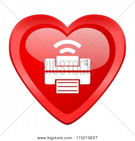 printer red heart valentine glossy web icon