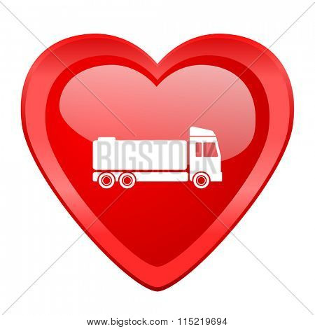truck red heart valentine glossy web icon
