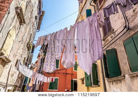 Narrow Street With Hanging Clothes-rovinj, Croatia