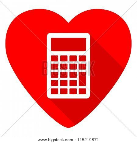 calculator red heart valentine flat icon