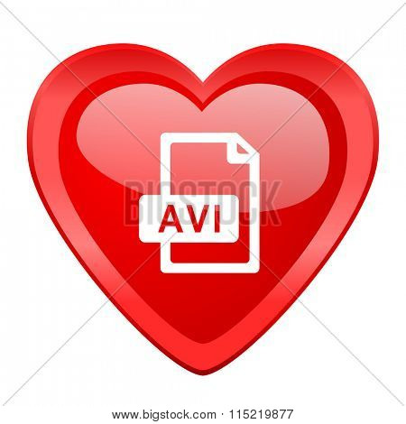 avi file red heart valentine glossy web icon