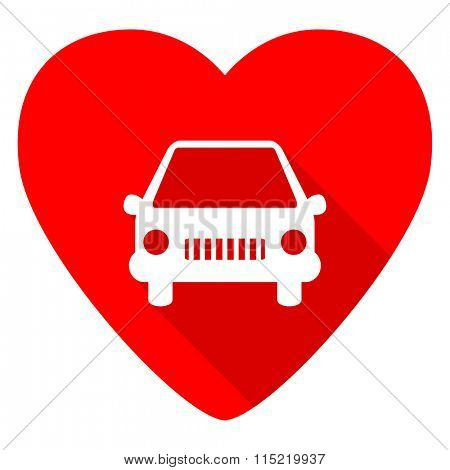 car red heart valentine flat icon