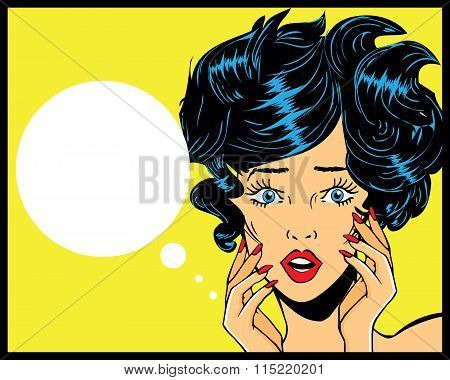 Retro Pop Art Illustration Of Woman With The Speech Bubble.pop Art Girl Vintage Advertising Poster C