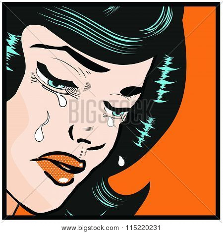 Emotions Woman Cry  Popart Pin-up Illustration