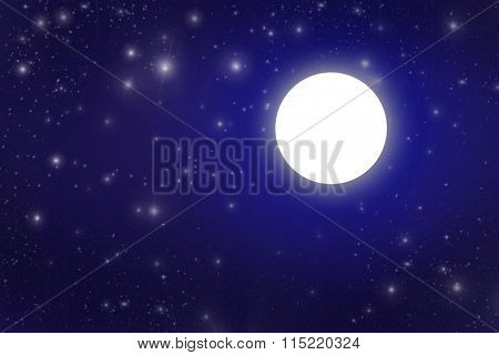 Star and moon on sky at night