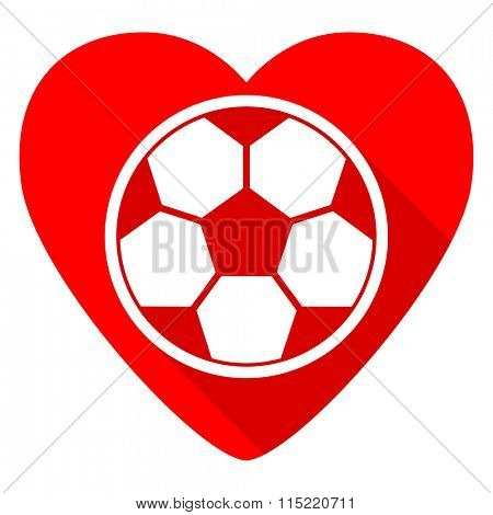 soccer red heart valentine flat icon