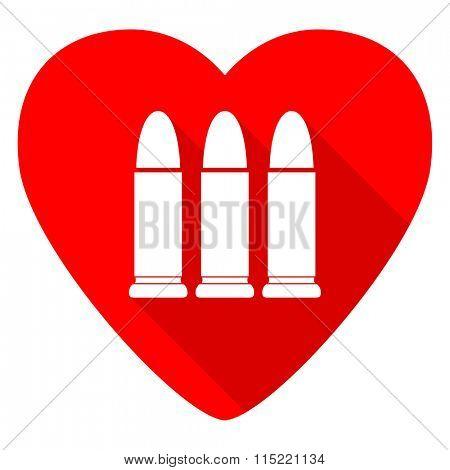 ammunition red heart valentine flat icon