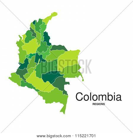 Colombia Regions Map Green