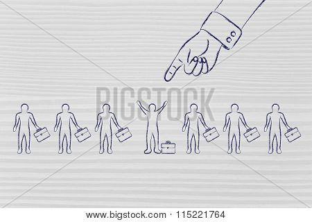 Oversized Hand Pointing At One Selected Business Man Or Candidate