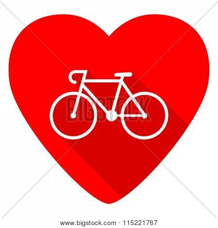bicycle red heart valentine flat icon