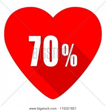70 percent red heart valentine flat icon
