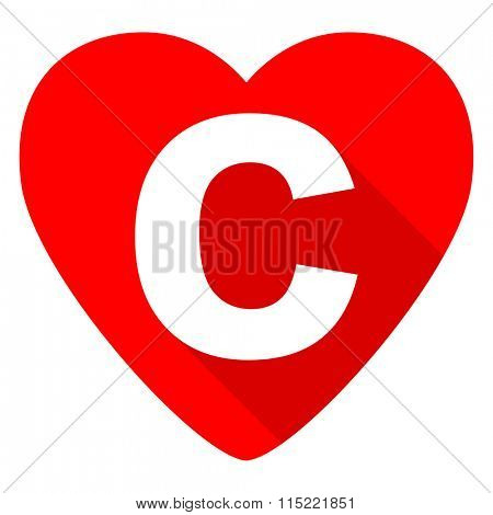 copyright red heart valentine flat icon