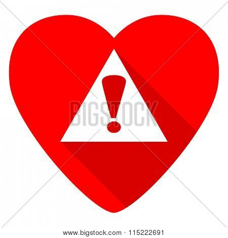 exclamation sign red heart valentine flat icon