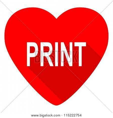 print red heart valentine flat icon