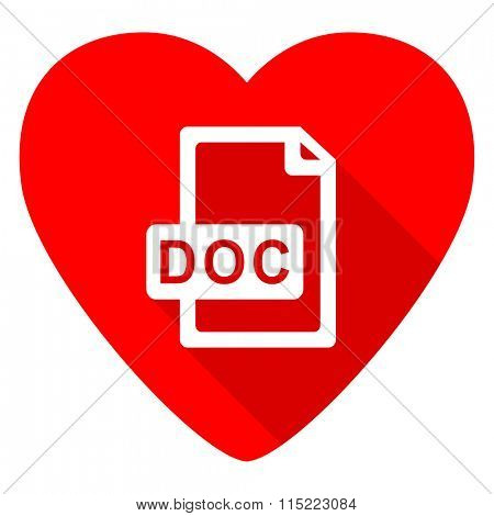 doc file red heart valentine flat icon