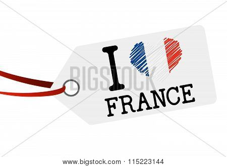 Hang Tag With Text I Love France