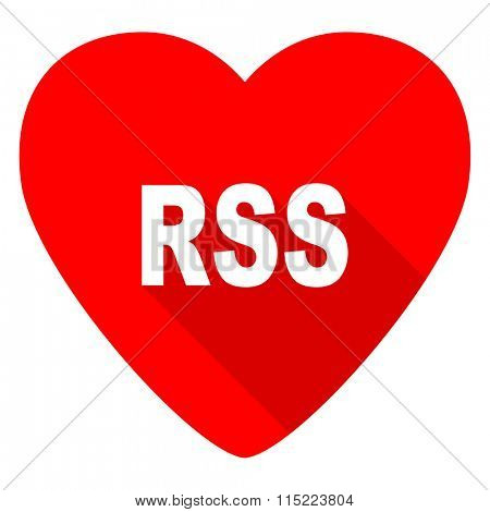 rss red heart valentine flat icon