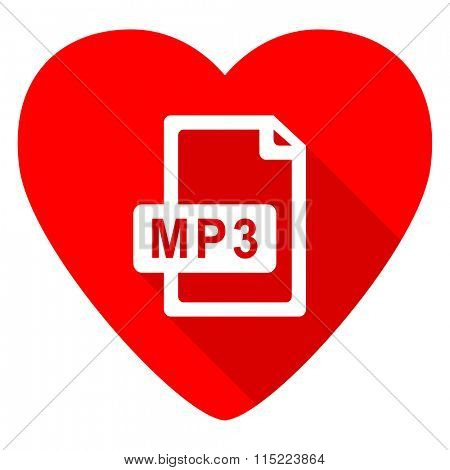 mp3 file red heart valentine flat icon