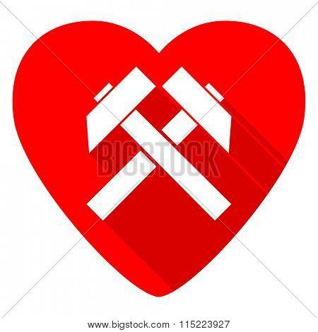 mining red heart valentine flat icon