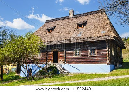 Old Log Hause In An Open-air Ethnography Museum In Wygielzow, Poland