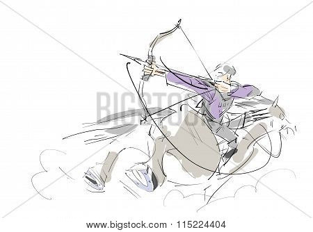 Sketch rider to shoot a bow.