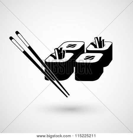 Sushi icon and chopsticks. Vector illustration.
