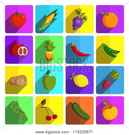 Modern fruits and vegetables vector icon set