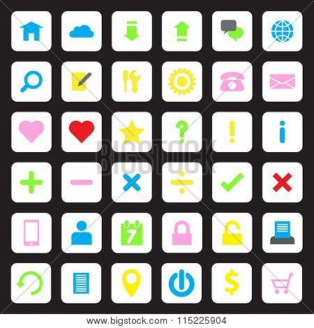 Colorful web icon set on white rounded rectangle