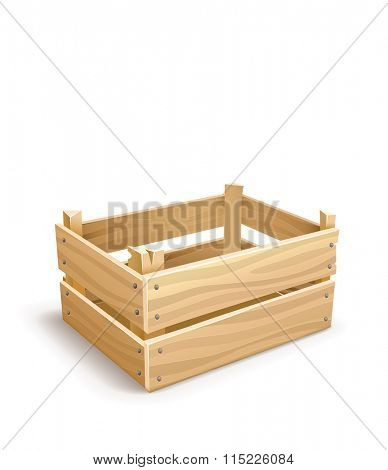 Wooden box for fruits and vegetables keeping. Isolated on white background.