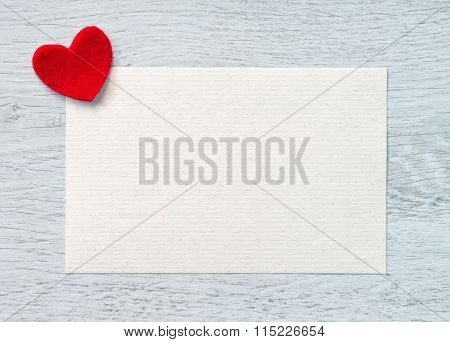 Valentines greeting card with a red heart